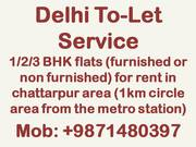 1/2/3 bhk flat for rent in chattarpur 9871480397